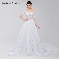 Sexy Sheer White Ball Gown Half Sleeve Lace Cover Wedding Dresses 2017 Formal Women Long Bridal Gowns robe de mariee Custom Made