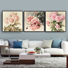 Vintga Rose Flower Posters and Prints Pink Peony Tulips Canvas Painting Scandinavian Nordic Style Kitchen Kids Room Decoration