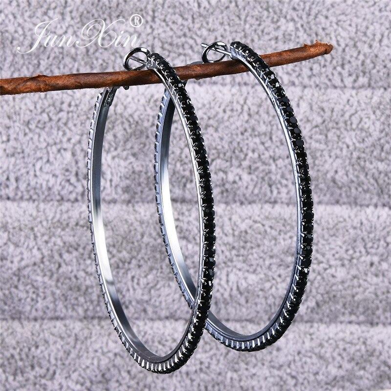 JUNXIN Female Male White/Black Zircon Big Circle Hoop Earrings For Women Silver Color Tiny Stone Round Crystal Earrings Vintage