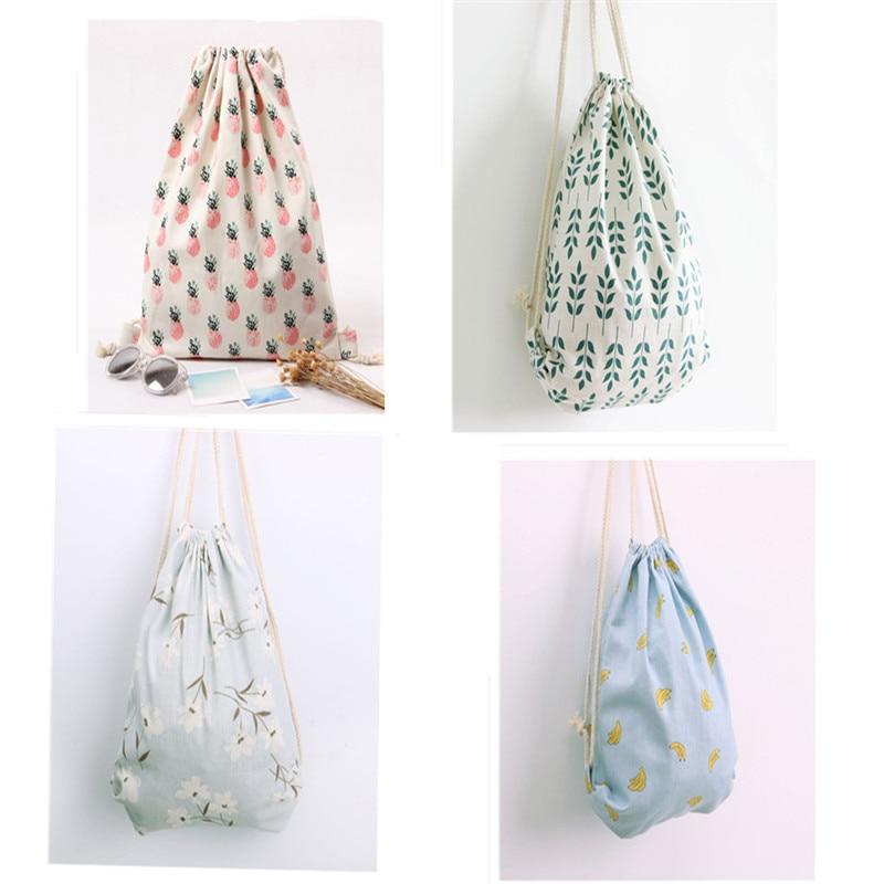 Fashion Women Canvas Bag Backpack Drawstring School Bag Cute Animal Bag Travel Shoulder Bag Shoe Clothes Underwear Storage Bag