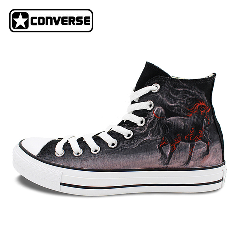 Black Converse Chuck Taylor Horse Original Design Hand Painted Canvas Shoes Woman Man Sneakers Skateboarding Shoes ...