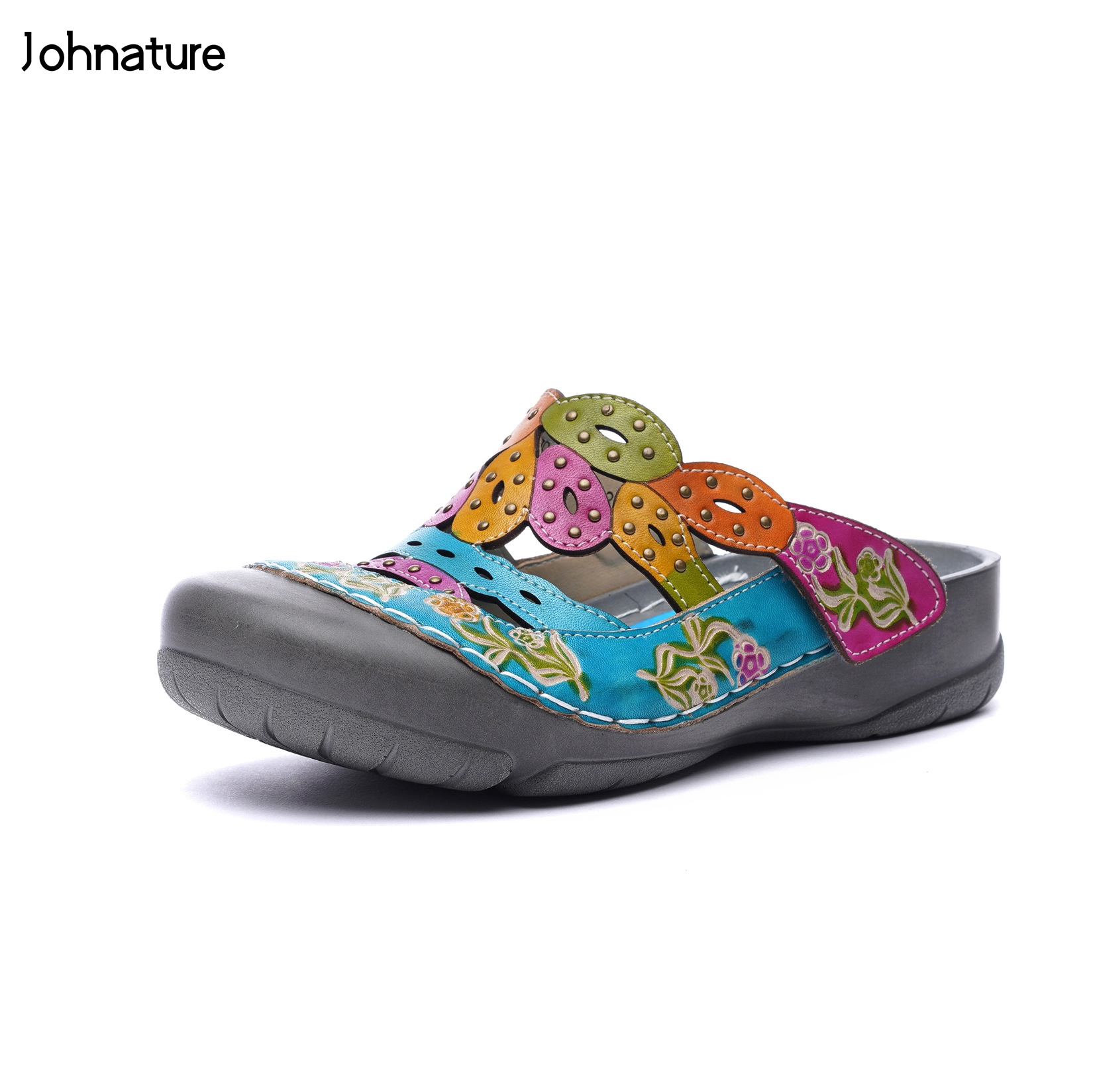 Johnature Genuine Leather 2019 New Summer Slippers Hand-painted Outside Totem Sandal Flat With Slides National Style Women ShoesJohnature Genuine Leather 2019 New Summer Slippers Hand-painted Outside Totem Sandal Flat With Slides National Style Women Shoes