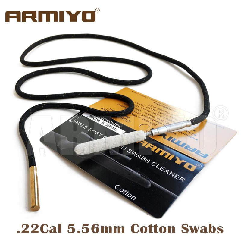 Armiyo Cotton .22Cal .22/.270cal Rifle Bore Cleaning Swabs Gun Barrel Cleaner Hunting Accessories Screw Thread Size M4 8-32