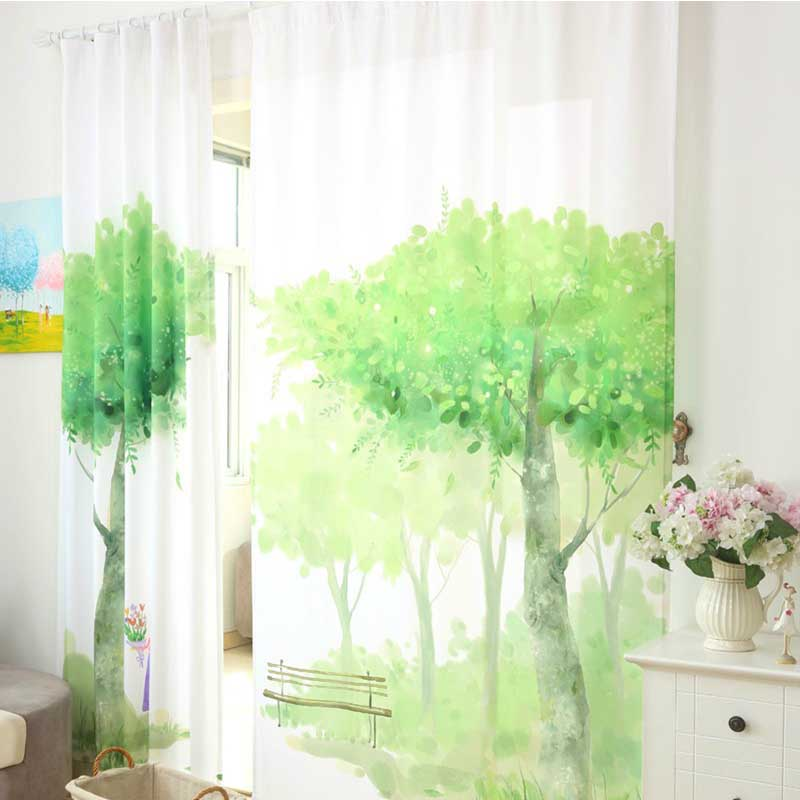 Scenery Curtains aliexpress : buy green window curtains for living room bedroom
