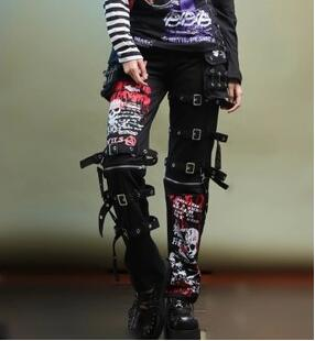 2020 Men's Gothic Non-mainstream Skull Print Doodle Personality Straight Gas Hole Punk Pants Singer Costumes Trousers 27-40