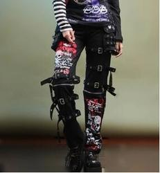 2020 männer gothic nicht-mainstream schädel druck doodle persönlichkeit gerade gas loch punk hosen sängerin kostüme hosen 27 -40