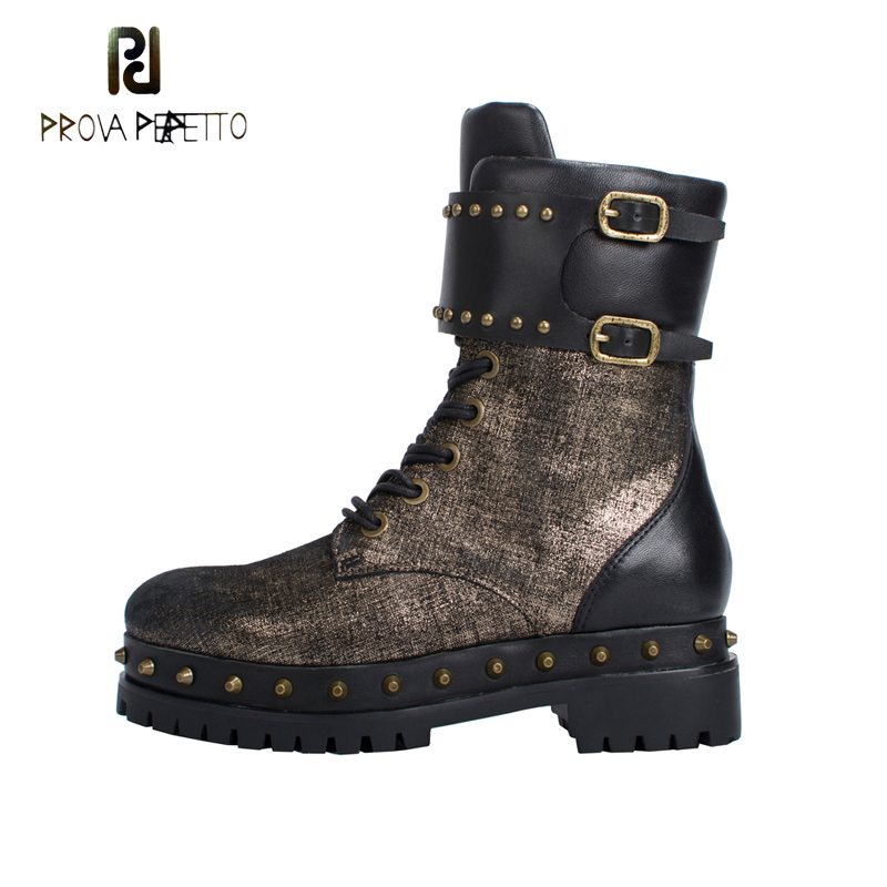 Prova Perfetto Genuine Leather Punk Women Ankle Boots Autumn Winter Rivets Studded Buckle Boots Female Platform Martin Boots prova perfetto black ankle boots for women rivets studded genuine leather martin boot autumn winter female platform rubber boots