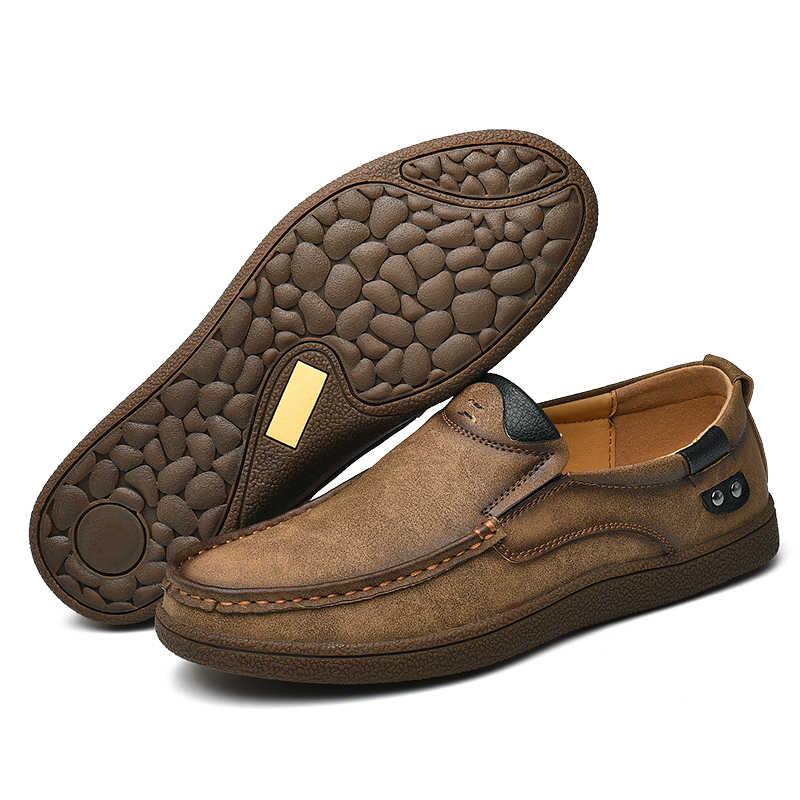 Marka kalite bölünmüş deri erkek mokasen ayakkabıları 2019 yeni nefes erkek rahat Oxfords ayakkabı erkekler Flats ayakkabı mokasen ayakkabı