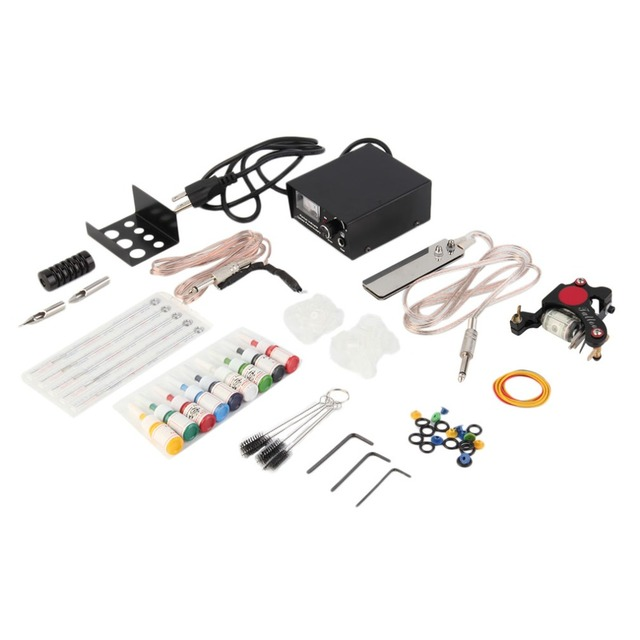 Professional  Complete Tattoo Kit 1 Machine Gun 9 Colors 5ml Ink Power Supply Needle