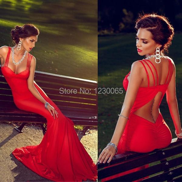 2016 hot Sexy Straps open Back vestido de festa Longo lace red Mermaid long   prom     dresses   Robe De Soiree Evening   Dress   For Women