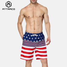Attraco Men Swimshorts American Flag Beach Shorts Swimwear Briefs Man Swimsuits Trunks Sea Casual Short Bottoms