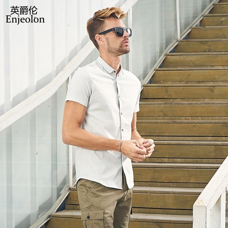 100% Wahr Enjeolon Marke Sommer Kurzarm Shirt Männer Solide Shirts Baumwolle Kleidung Männlichen Casual Für Männer Hemd Kleidung C2510