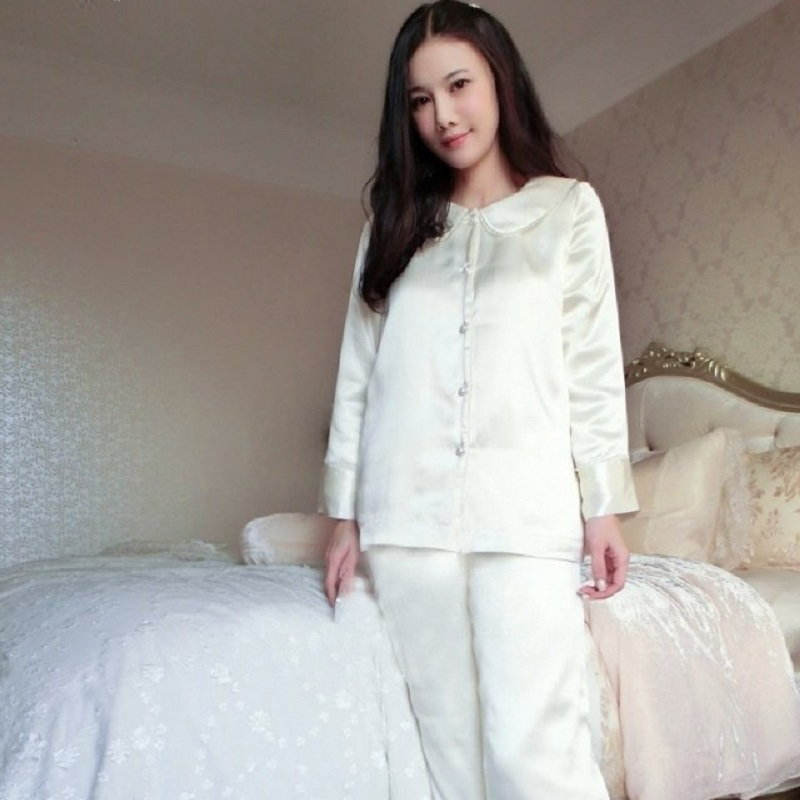 Nuevos pijamas gruesos de seda de calidad superior para mujer conjuntos de pijamas de manga larga de invierno blanco cálido de 3 fotos princesa conjuntos de ropa de dormir homwear 035