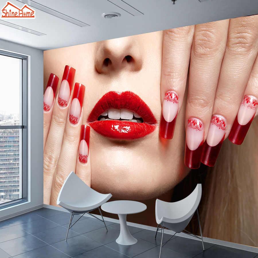 ShineHome-grand papier peint Mural personnalisé   Papier peint pour Salon des ongles, Salon de café, décoration pour la maison