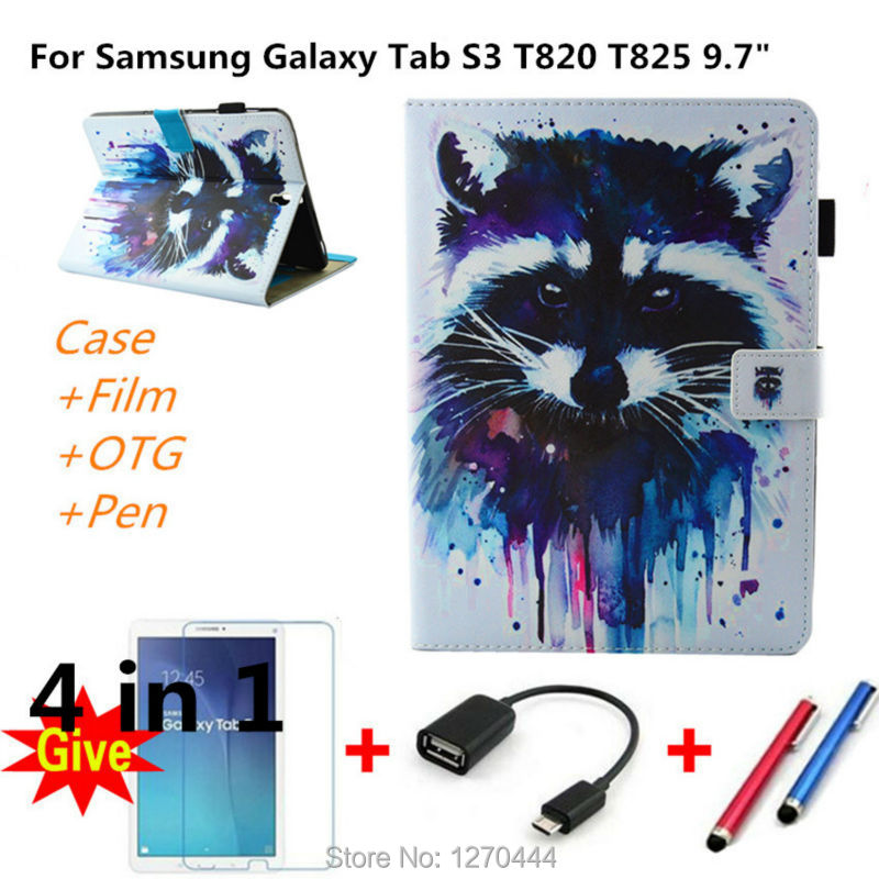 Luxury Magnetic Cartoon Series Stand Leather case For Samsung Galaxy Tab S3 T820 T825 9.7 cover For Samsung Galaxy Tab S3 9.7 new luxury pu leather case for samsung galaxy tab s3 9 7 t820 t825 flip stand cover tablet case for samsung galaxy tab s3 t820