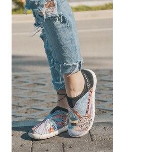 Image 5 - UIN גלגל עיצוב צבוע בד נעלי נשים טרנדי להחליק על ופרס גבירותיי נסיעות דירות אופנה Sneaker