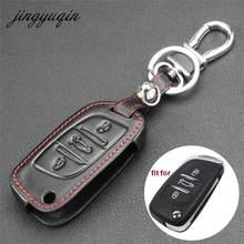 Jingyuqin-Funda de cuero para llave remota con tapa modificada de 3 botones para Peugeot 207, 307, 307, 308, 407, 607, para Citroen C4, C5, Xsara Picasso