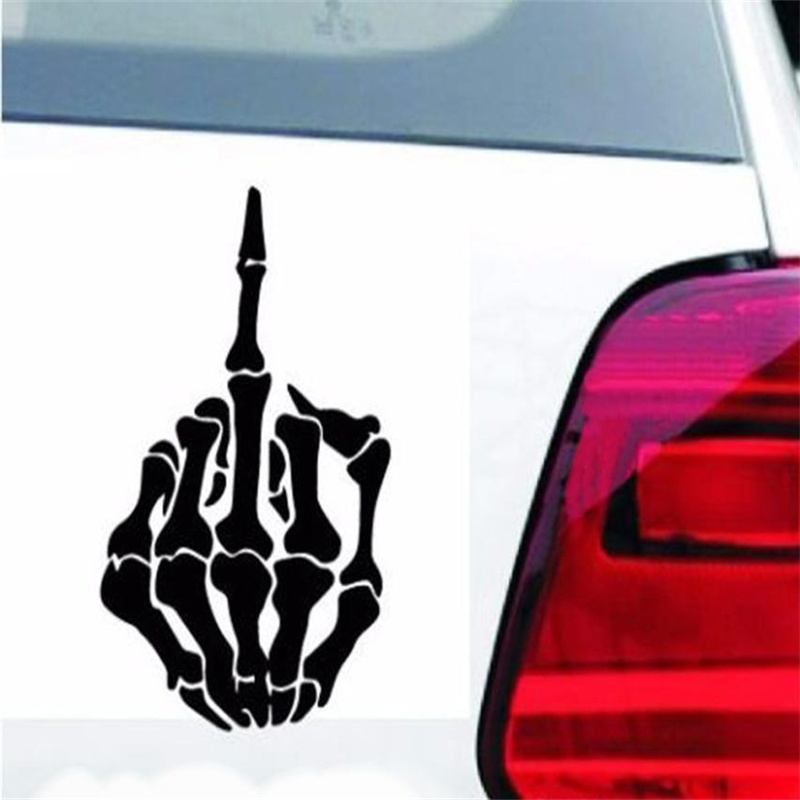 2018 HOT SALE Skull Middle Finger Car Stickers Car Window Decorative Sticker Skull Funny Decal car styling very good Vicky