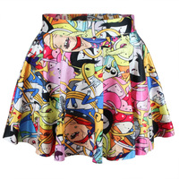 Harajuku Mixed Animation Pattern Puff Skirt Pink Clouds Princess Digital Printing Short skirt Blue Machine Elastic Pleated Skirt