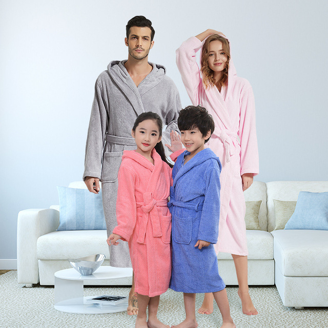 Cotton hotel hooded bathrobes autumn and winter thick towel material nightgown long hooded absorbent bathrobe