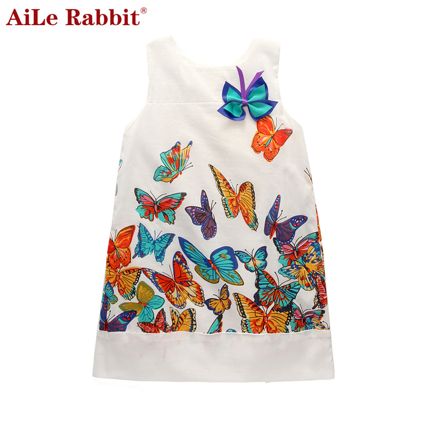 AiLe Rabbit Girl Princess Dress 2016 New Fashion Brand Children Girls Dress Hot Saling Baby Kids Clothing Set aile rabbit summer 2016 new baby boy pattern rabbit toddler plaid kids clothes children clothing set