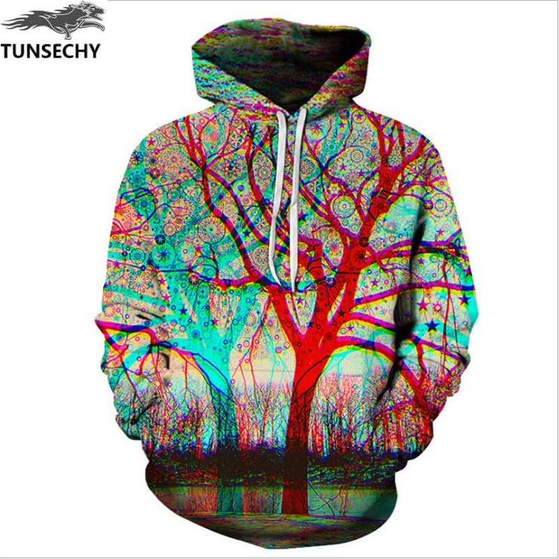 TUNSECHY Brand Hot harajuku fashion male/female 3D digital printing tree hooded US Tops Unisex Hoodies Sweatshirts S-XXXL