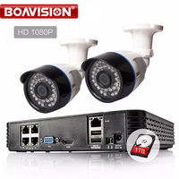 BOAVISION 4 Channel 15V PoE Kit Surveillance System IP Camera 1080P CCTV System 2PCS 2 0MP