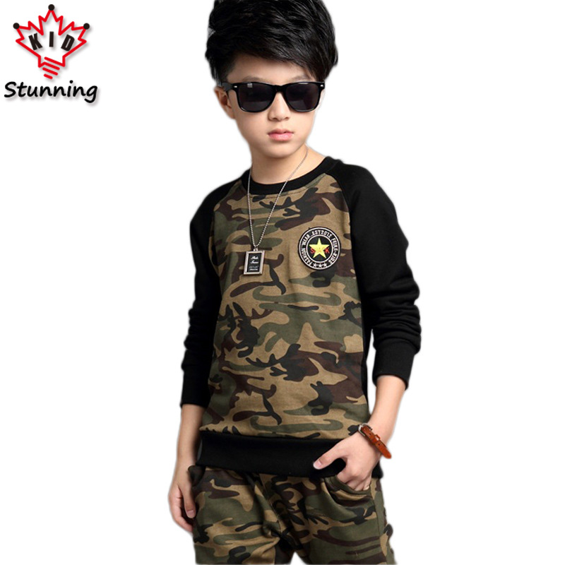 2-13T Plus Size Boys Clothing Sets Long Sleeve Camouflage Style Boys Clothes Suit Autumn Children Clothing Kids Tracksuit sets long sleeve children s sports suits boys clothing set camouflage child tracksuit clothes sets for teenage