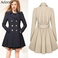 Aelorxin Hot Sale! 2016 New European and American style  round neck jacket women coat for women turn-down collar