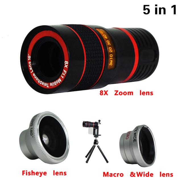 2017 5in1 Kit 8x Telefoto Lente Da Câmera Do Telefone Lente Olho de Peixe Grande Angular macro lens mini tripé para iphone 6 6 s além de 7 samsung s5 S6