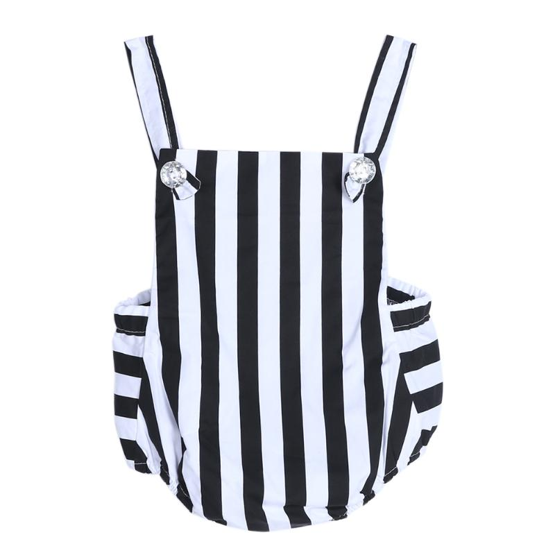 Baby Girls Clothes Infant Sleeveless Striped Bodysuit Toddlers Jumpsuit Strappy Overalls Outfit