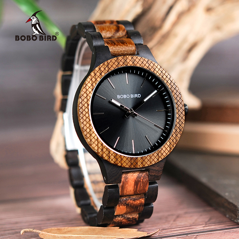 BOBO BIRD D30-1 Two-tone Zebra Wood & Ebony Wooden Watches Luminous Hands Quartz Wristwatch for Men in wooden Gift Box bobo bird wh05 brand design classic ebony wooden mens watch full wood strap quartz watches lightweight gift for men in wood box