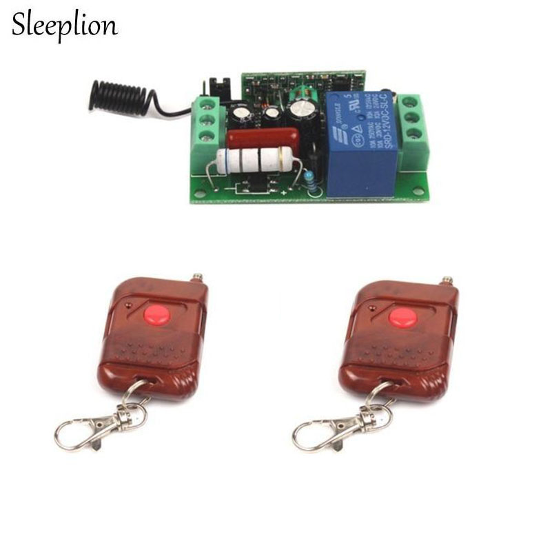 Sleeplion AC 220V 10A Relay 1CH RF wireless Remote Control Switch 2 Transmitter+ Receiver Lamp Light Accessories 315MHz 433MHz
