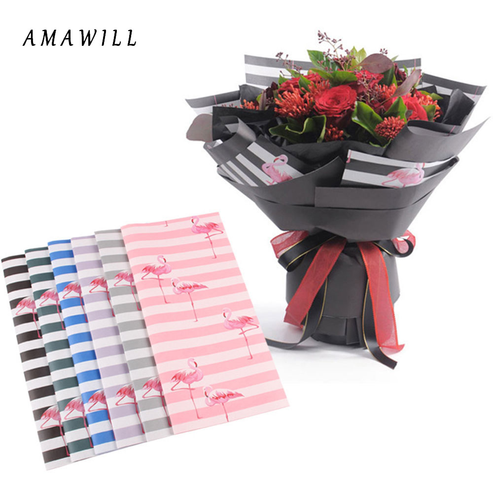 Amawill 10pcslot Indigo Paper Flamingo Wrap Flowers Packaging