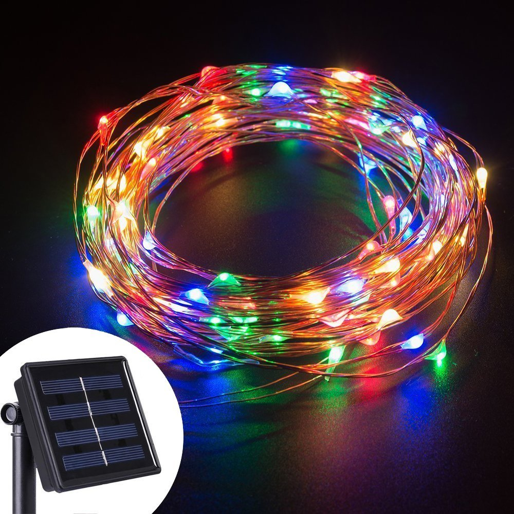 Outdoor String Lights Guide Wire: LED String Lights 10M 100 LEDs Solar Powered Copper Wire