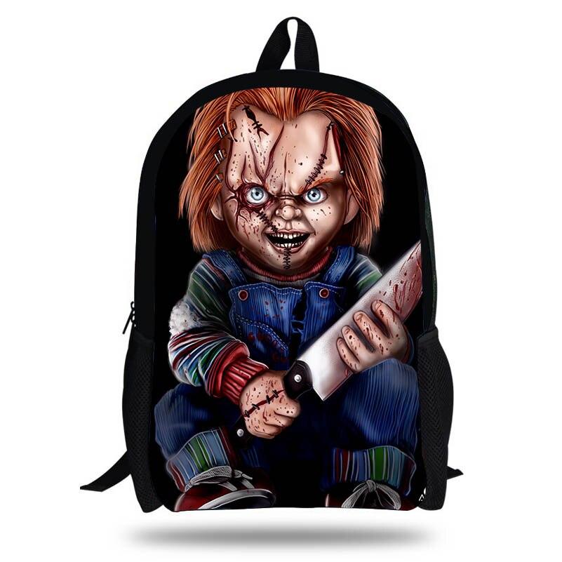 e9af5411dd284 16-Inch Newest Horror Doll Chucky Saw Puppet Printing Backpacks Bag For  School Boys Girls Casual