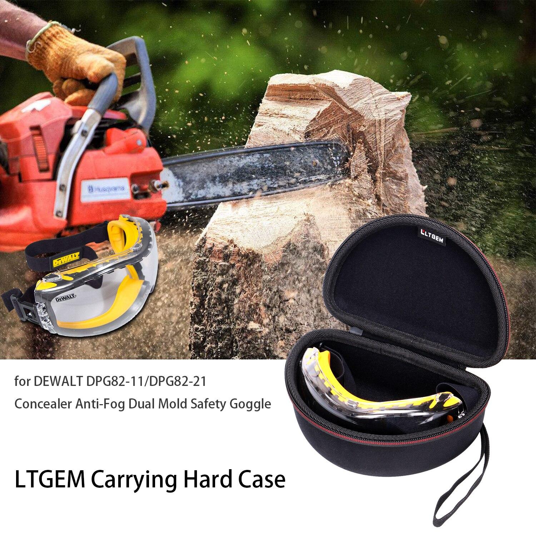 LTGEM EVA Hard Travel Carrying Case For DEWALT DPG82-11/DPG82-21 Concealer Anti-Fog Dual Mold Safety Goggle