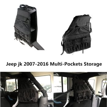 lantsun 2 x Multi-Pockets Storage&Roll Bar Bag for  wrangler JK 4DR black storage bag