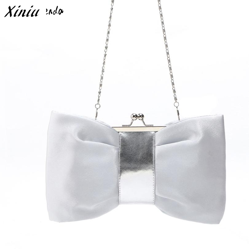 Xiniu Women Shoulder Bag Chain Strap Bowknot Shape Handbag Evening Party Satin Clutch Bag #2712
