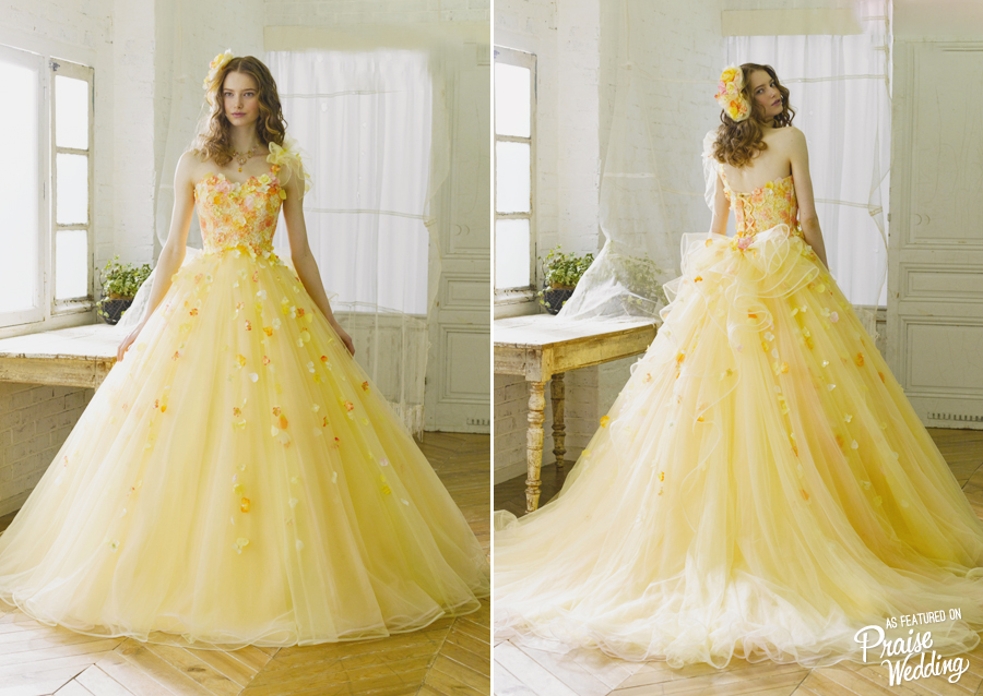 One Shoulder Yellow Tulle Flowers Ball Gown Ruffles Formal