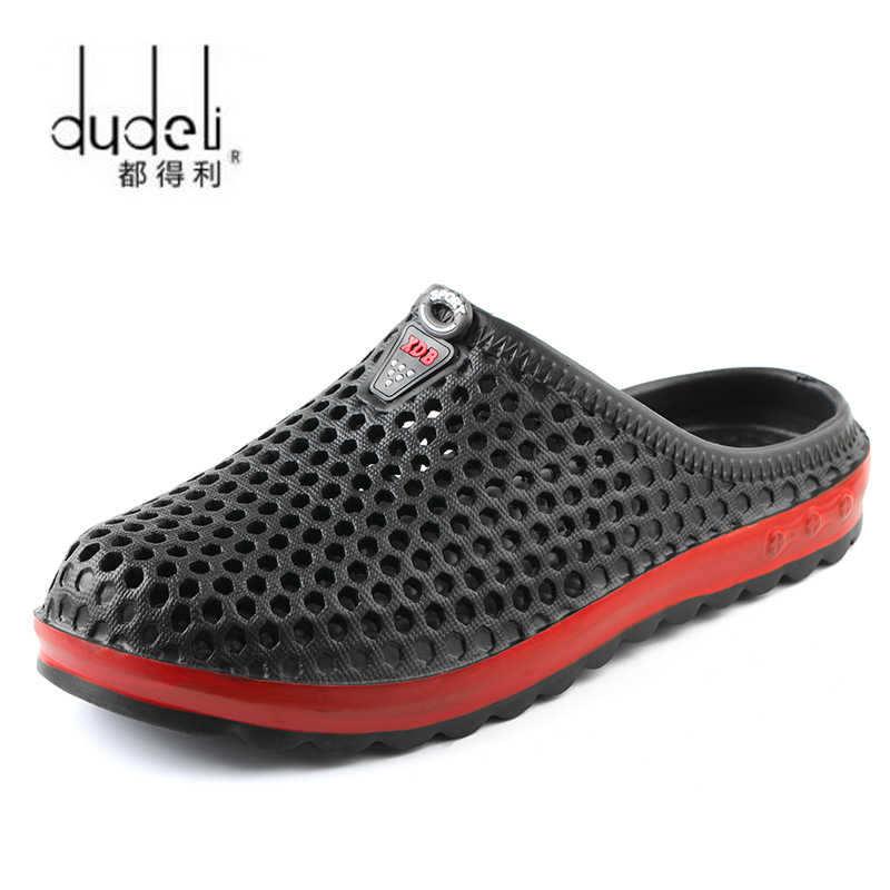 2600b9ff013bb7 DUDELI Fashion Men Sandals 2018 Summer Men Beach Hollow Breathable Sandals  Causal Shoes Male Water Slippers