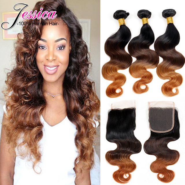 cheap peruvian virgin hair body wave with closure 3 bundle Grade 7a Unprocessed 3 Tone ombre weave with closure wet and wavy