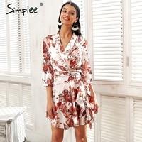 Simplee Long Sleeve Satin Summer Dress Women Floral Print Spring Dress Female Streetwear Sash Wrap Causal