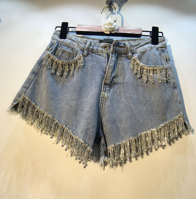 European Station Studded   Jeans   Shorts Lady 2019 Summer New Heavy Industry Vertical Bar Inlay High Waist Thin Broad Leg Hot Pants