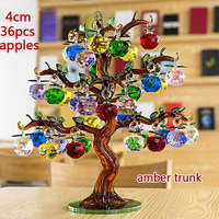 Crystal Glass Apple Tree Ornaments 36pcs Hanging Apples Home Decor Fengshui Figurines Christmas Crafts Gifts Souvenir
