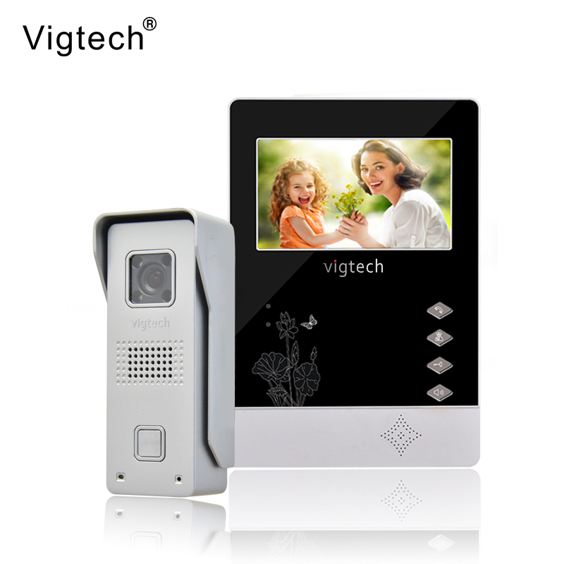 Vigtech Home Wired Cheap 4.3' inch LCD Color Video Door Phone DoorBell Intercom System IR Night vision Camera FREE SHIPPING homefong hot 4 3 inch color lcd hands free home video door phone intercom doorbell doorphone system night vision waterproof