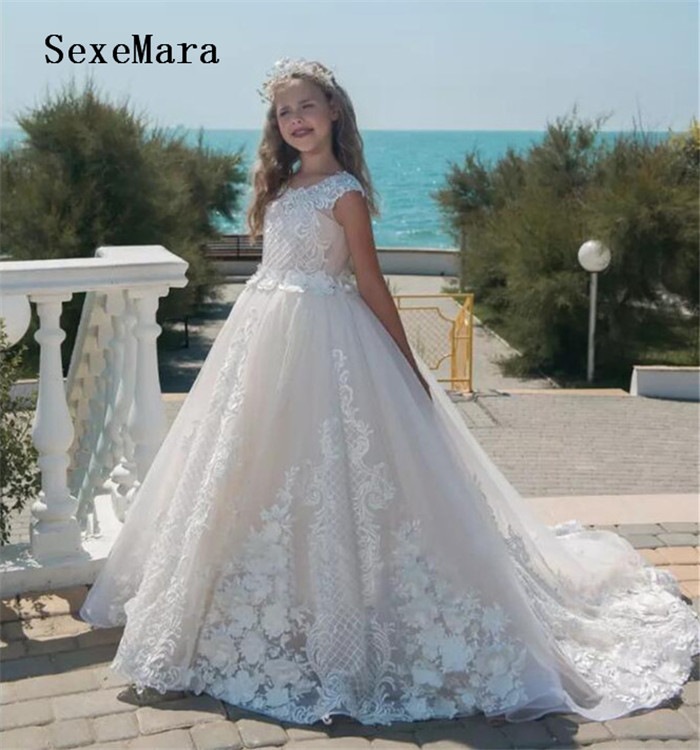 Beautiful Pageant   Dresses   For   Girls   Ball Gown   Flower     Girl     Dresses   For Weddings Vestido De Daminha Communion   Dresses   White Ivory