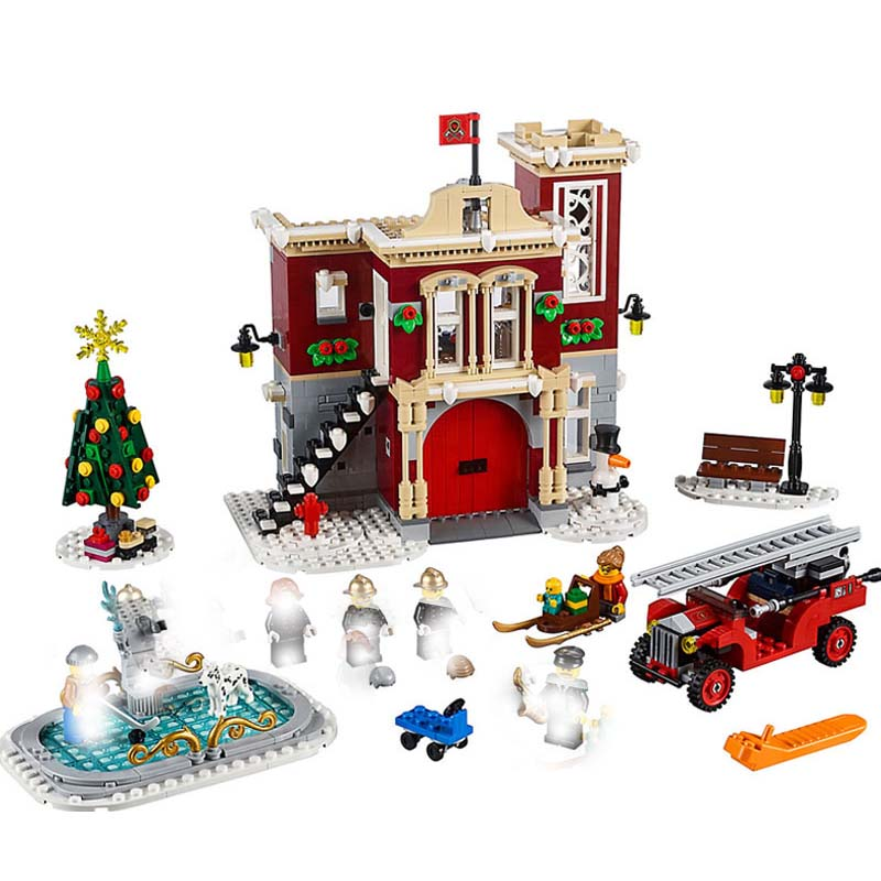 Compatible Legoing 10263 Creator Series Winter Village Fire Station Building Blocks Bricks Toys Assembled DIY
