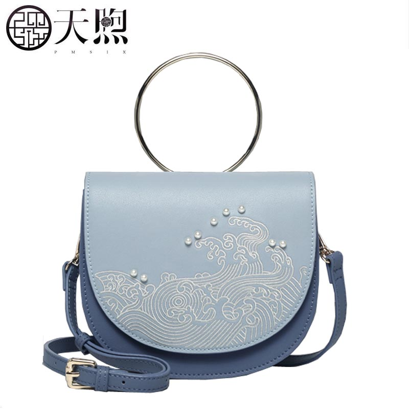 TMSIX 2018 New women Leather bags designer famous brand Light blue fashion embroidery handbag tote women shoulder bags 2017 new famous designer brand bags women cattle split leather ladies fashion handbag gray tote bags hasp shoulder bags hd651118
