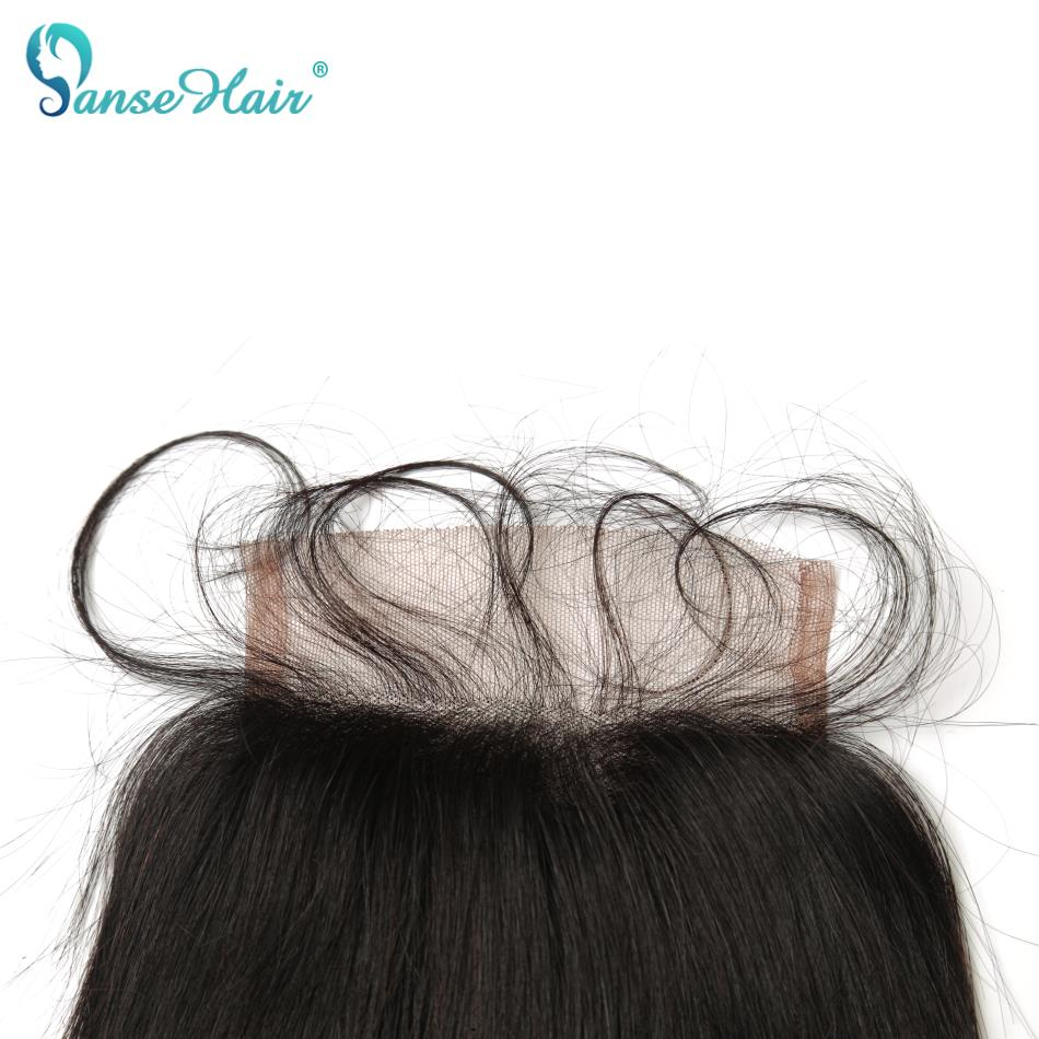 Panse Hair Brazilian Straight Closure 4*4 Natural Black Extension 8-20 Inches Non Remy Lace Closure With Human Baby Hair